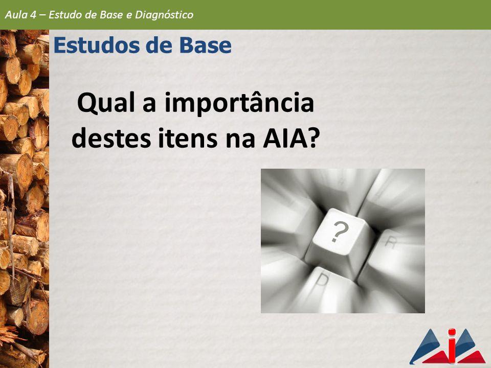 Qual a importância destes itens na AIA? Aula 4 – Estudo de Base e Diagnóstico Estudos de Base