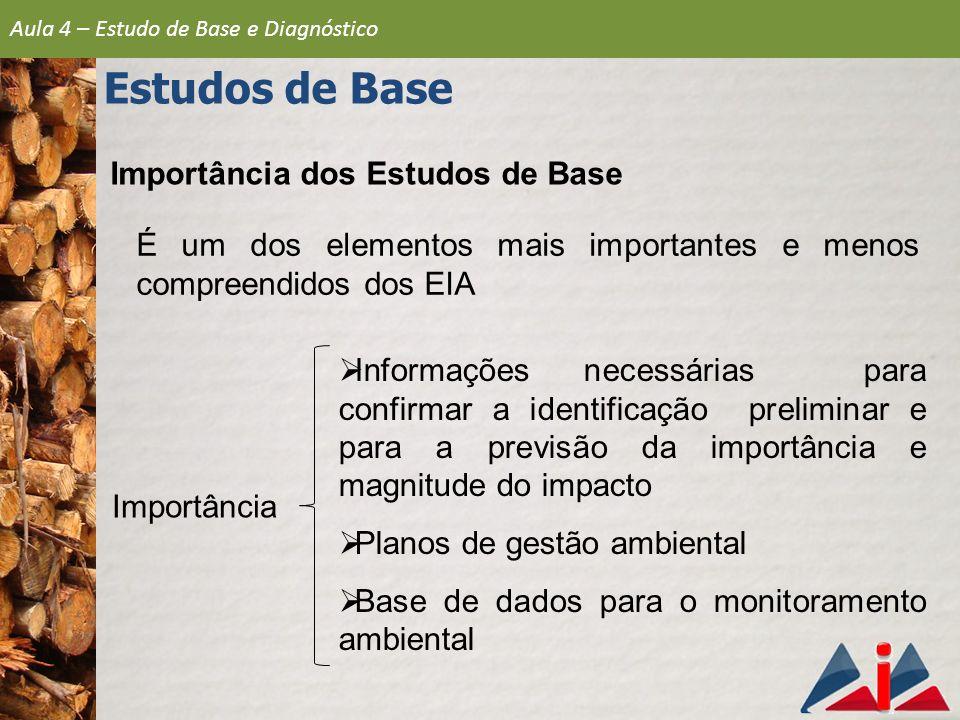 Importância dos Estudos de Base  Informações necessárias para confirmar a identificação preliminar e para a previsão da importância e magnitude do im