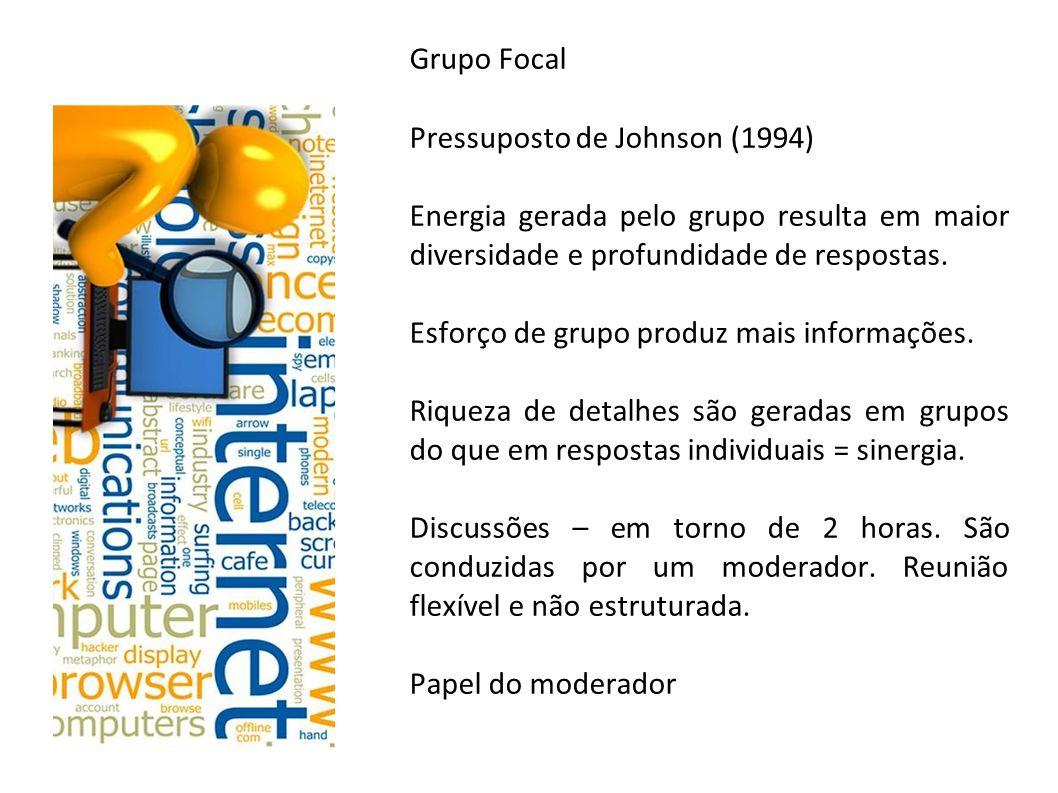 Grupo Focal Pressuposto de Johnson (1994) Energia gerada pelo grupo resulta em maior diversidade e profundidade de respostas. Esforço de grupo produz