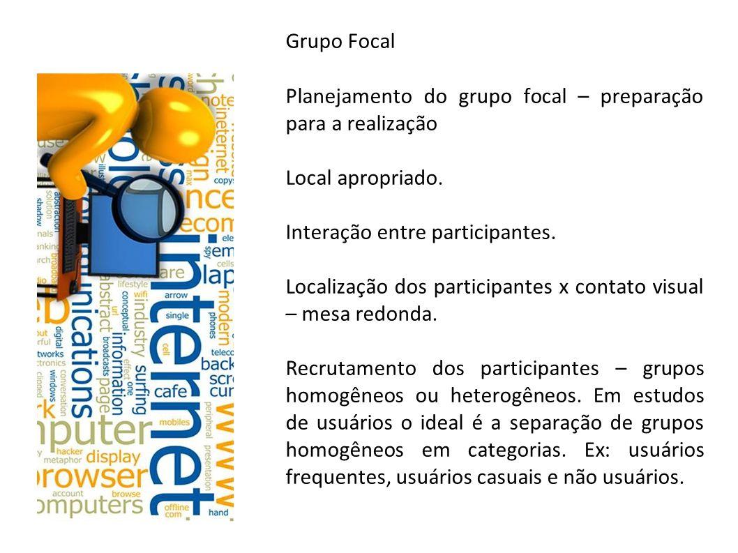 Grupo Focal Planejamento do grupo focal – preparação para a realização Local apropriado. Interação entre participantes. Localização dos participantes