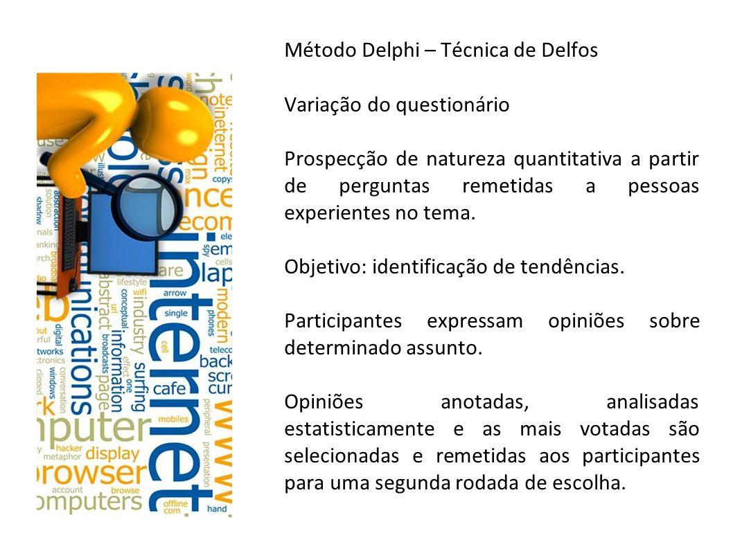 Método Delphi – Técnica de Delfos Variação do questionário Prospecção de natureza quantitativa a partir de perguntas remetidas a pessoas experientes n