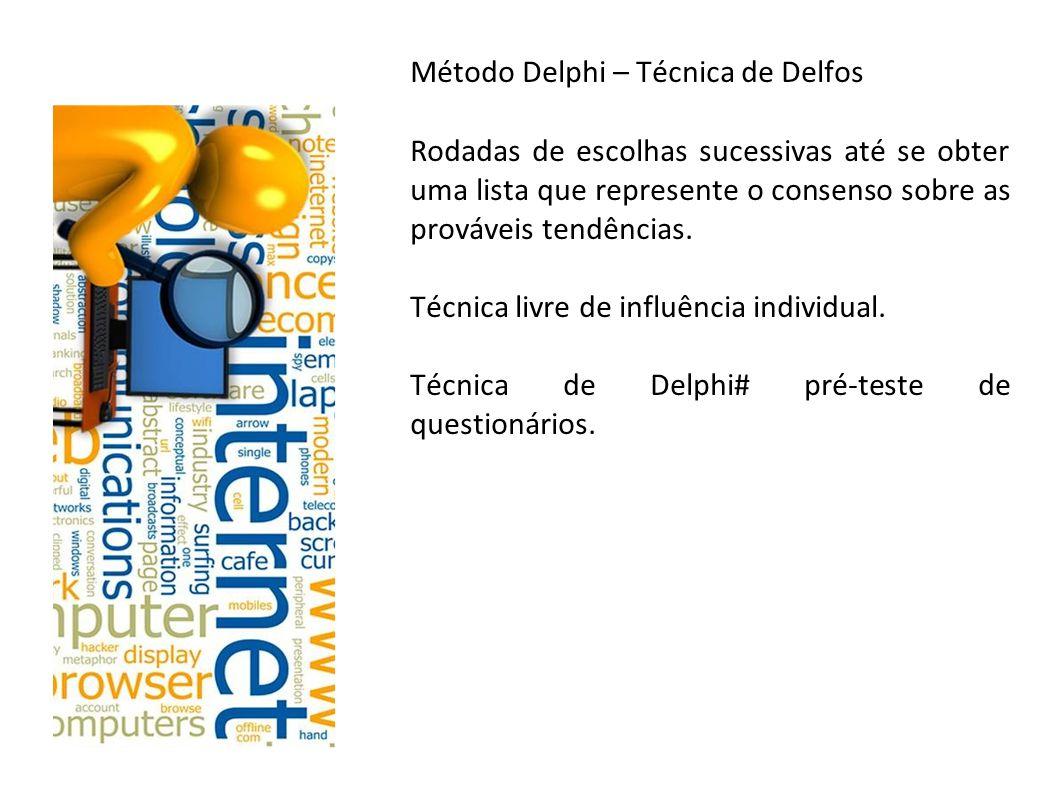 Método Delphi – Técnica de Delfos Rodadas de escolhas sucessivas até se obter uma lista que represente o consenso sobre as prováveis tendências. Técni