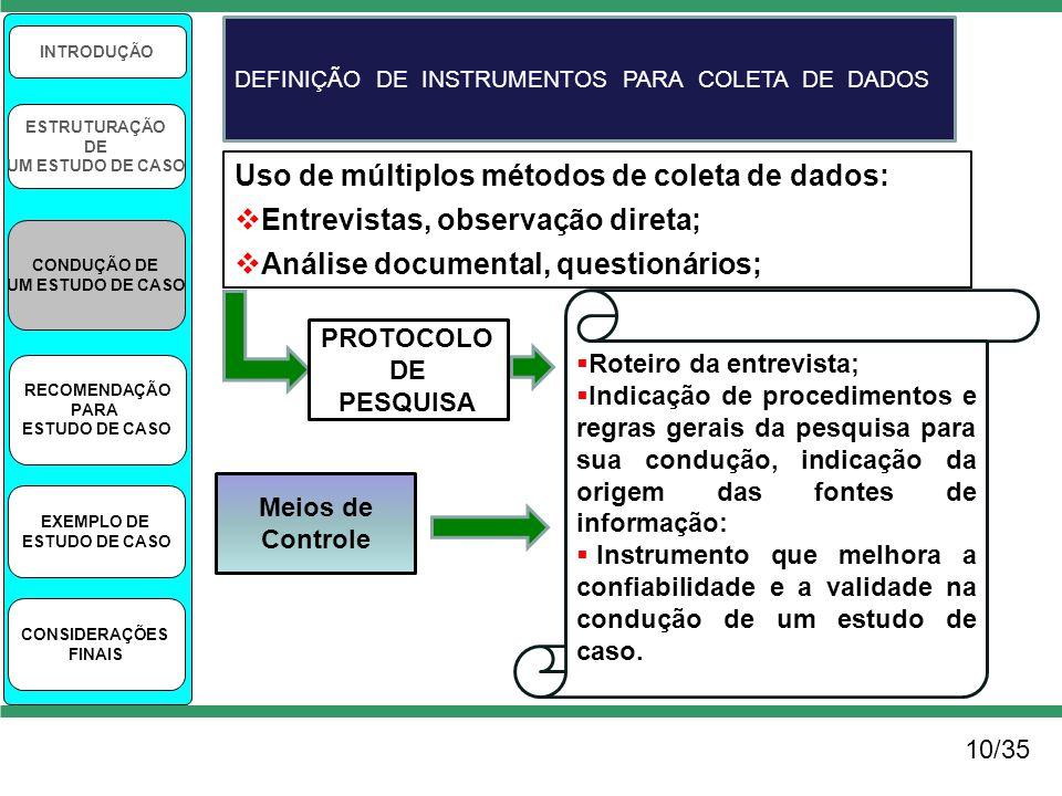 10/35 INTRODUÇÃO ESTRUTURAÇÃO DE UM ESTUDO DE CASO CONDUÇÃO DE UM ESTUDO DE CASO RECOMENDAÇÃO PARA ESTUDO DE CASO EXEMPLO DE ESTUDO DE CASO CONSIDERAÇ
