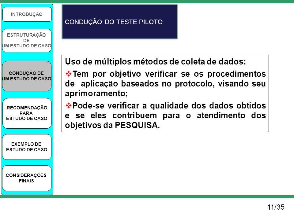11/35 INTRODUÇÃO ESTRUTURAÇÃO DE UM ESTUDO DE CASO CONDUÇÃO DE UM ESTUDO DE CASO RECOMENDAÇÃO PARA ESTUDO DE CASO EXEMPLO DE ESTUDO DE CASO CONSIDERAÇ
