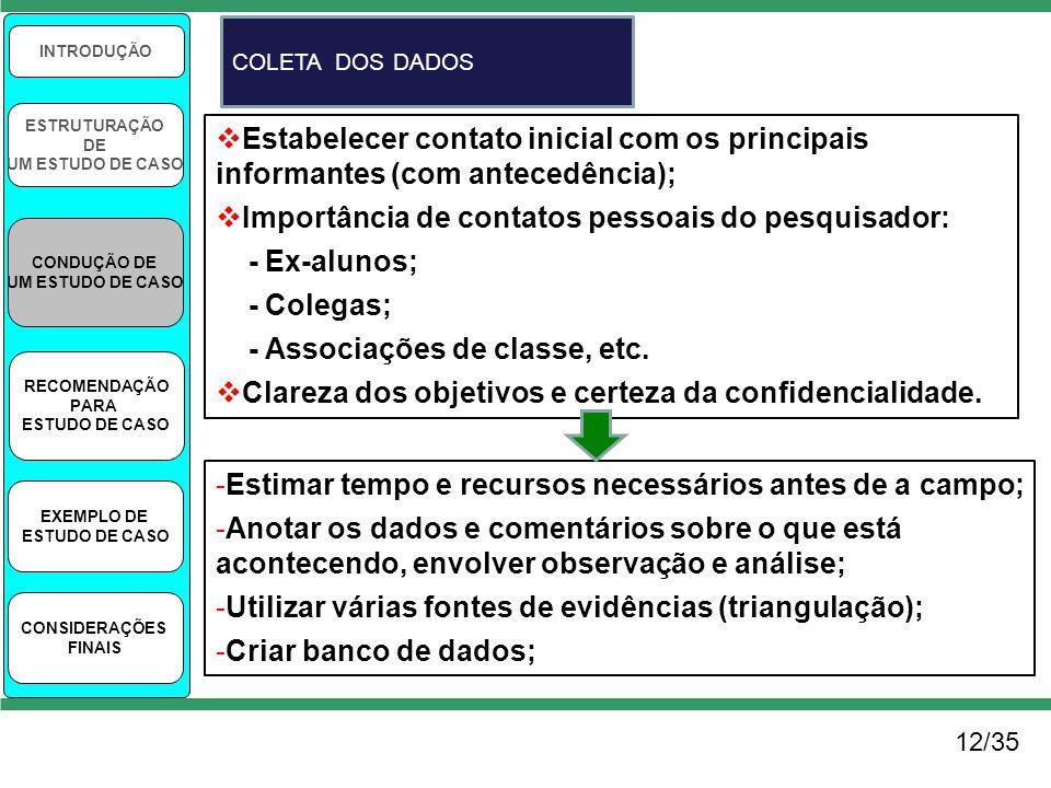 12/35 INTRODUÇÃO ESTRUTURAÇÃO DE UM ESTUDO DE CASO CONDUÇÃO DE UM ESTUDO DE CASO RECOMENDAÇÃO PARA ESTUDO DE CASO EXEMPLO DE ESTUDO DE CASO CONSIDERAÇ