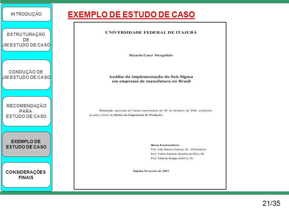 21/35 INTRODUÇÃO ESTRUTURAÇÃO DE UM ESTUDO DE CASO CONDUÇÃO DE UM ESTUDO DE CASO RECOMENDAÇÃO PARA ESTUDO DE CASO EXEMPLO DE ESTUDO DE CASO CONSIDERAÇ