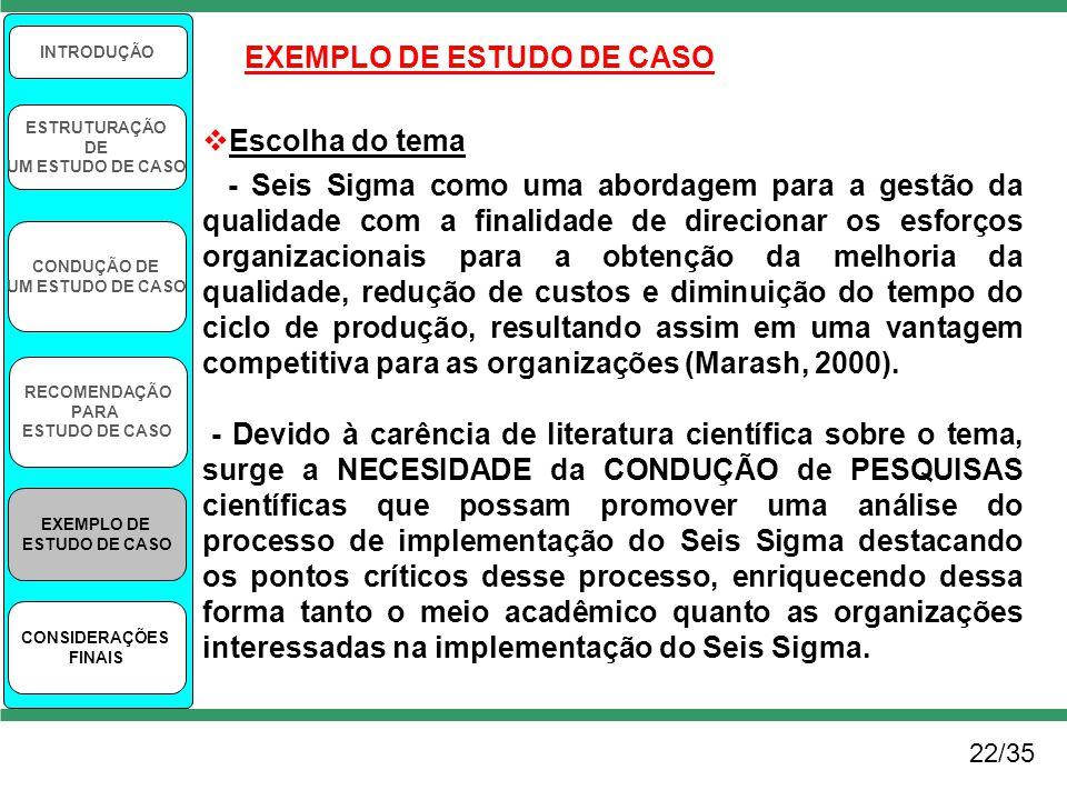 22/35 INTRODUÇÃO ESTRUTURAÇÃO DE UM ESTUDO DE CASO CONDUÇÃO DE UM ESTUDO DE CASO RECOMENDAÇÃO PARA ESTUDO DE CASO EXEMPLO DE ESTUDO DE CASO CONSIDERAÇ