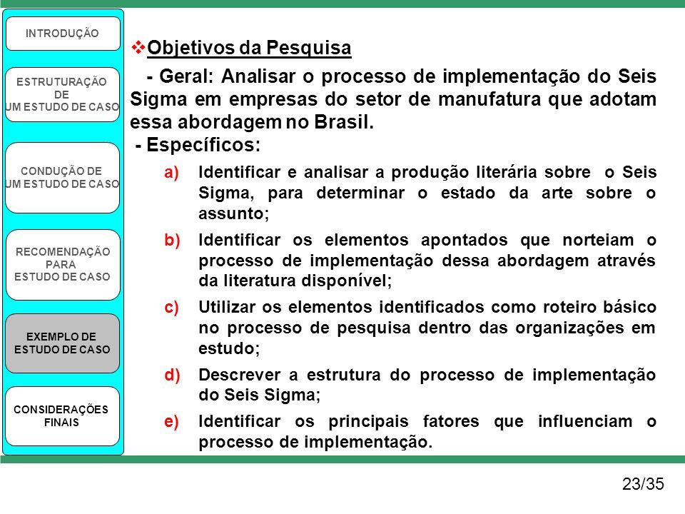 23/35 INTRODUÇÃO ESTRUTURAÇÃO DE UM ESTUDO DE CASO CONDUÇÃO DE UM ESTUDO DE CASO RECOMENDAÇÃO PARA ESTUDO DE CASO EXEMPLO DE ESTUDO DE CASO CONSIDERAÇ