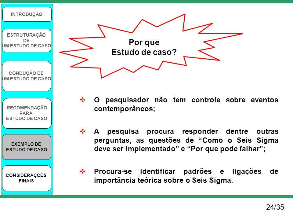24/35 INTRODUÇÃO ESTRUTURAÇÃO DE UM ESTUDO DE CASO CONDUÇÃO DE UM ESTUDO DE CASO RECOMENDAÇÃO PARA ESTUDO DE CASO EXEMPLO DE ESTUDO DE CASO CONSIDERAÇ