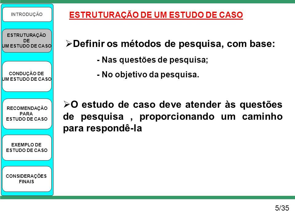 5/35 INTRODUÇÃO ESTRUTURAÇÃO DE UM ESTUDO DE CASO CONDUÇÃO DE UM ESTUDO DE CASO RECOMENDAÇÃO PARA ESTUDO DE CASO EXEMPLO DE ESTUDO DE CASO CONSIDERAÇÕ
