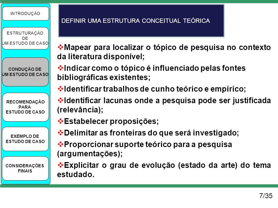 7/35 INTRODUÇÃO ESTRUTURAÇÃO DE UM ESTUDO DE CASO CONDUÇÃO DE UM ESTUDO DE CASO RECOMENDAÇÃO PARA ESTUDO DE CASO EXEMPLO DE ESTUDO DE CASO CONSIDERAÇÕ
