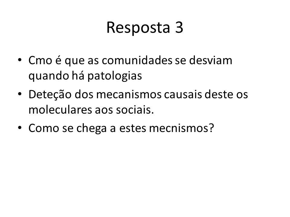 Resposta 3 Cmo é que as comunidades se desviam quando há patologias Deteção dos mecanismos causais deste os moleculares aos sociais.