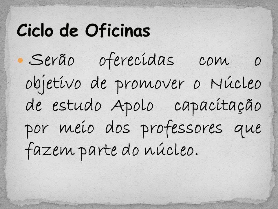 S erão oferecidas com o objetivo de promover o Núcleo de estudo Apolo capacitação por meio dos professores que fazem parte do núcleo.