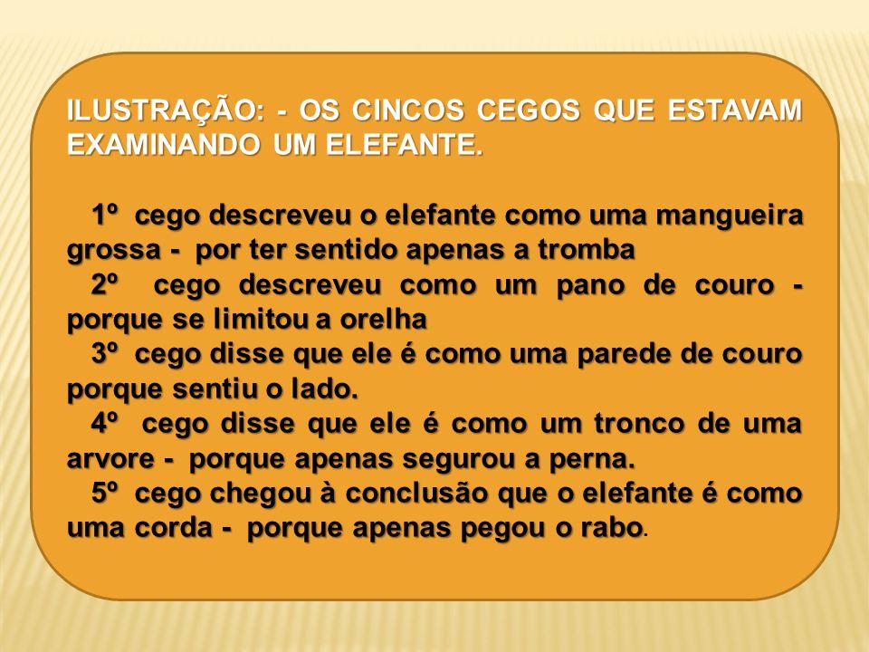 ILUSTRAÇÃO: - OS CINCOS CEGOS QUE ESTAVAM EXAMINANDO UM ELEFANTE. 1º cego descreveu o elefante como uma mangueira grossa - por ter sentido apenas a tr