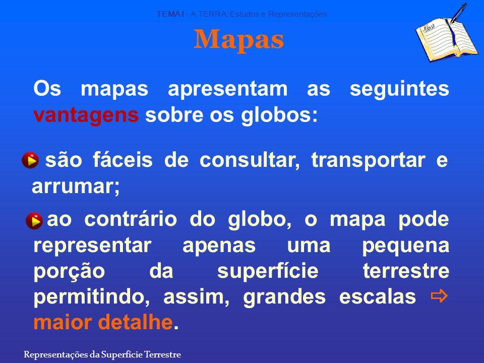 Mapas Os mapas apresentam as seguintes vantagens sobre os globos: são fáceis de consultar, transportar e arrumar; ao contrário do globo, o mapa pode representar apenas uma pequena porção da superfície terrestre permitindo, assim, grandes escalas  maior detalhe.