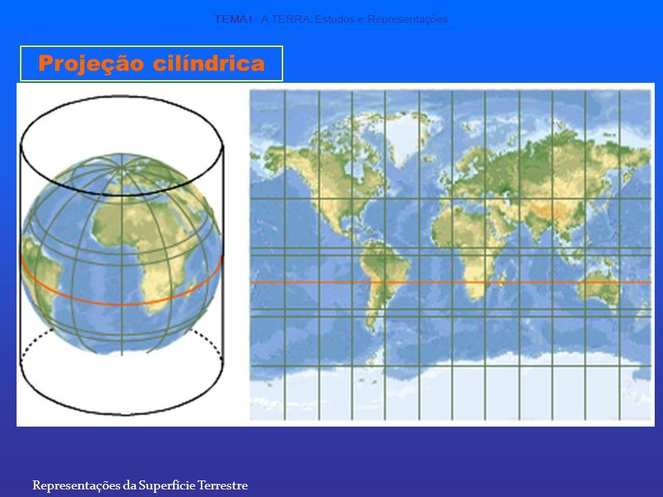 Projeção cilíndrica TEMA I - A TERRA: Estudos e Representações Representações da Superfície Terrestre