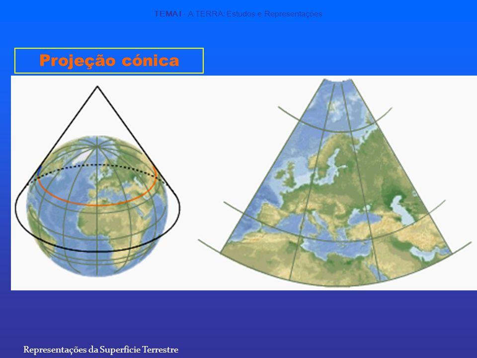 Projeção cónica Representações da Superfície Terrestre TEMA I - A TERRA: Estudos e Representações