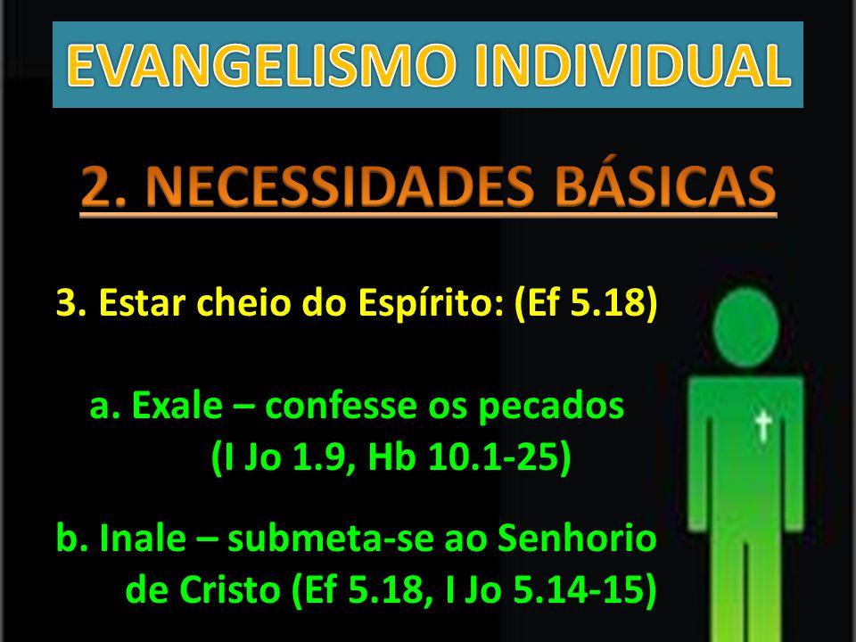 3. Estar cheio do Espírito: (Ef 5.18) a. Exale – confesse os pecados (I Jo 1.9, Hb 10.1-25) b. Inale – submeta-se ao Senhorio de Cristo (Ef 5.18, I Jo