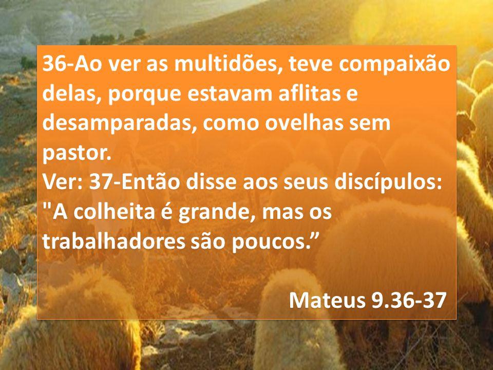 36-Ao ver as multidões, teve compaixão delas, porque estavam aflitas e desamparadas, como ovelhas sem pastor. Ver: 37-Então disse aos seus discípulos: