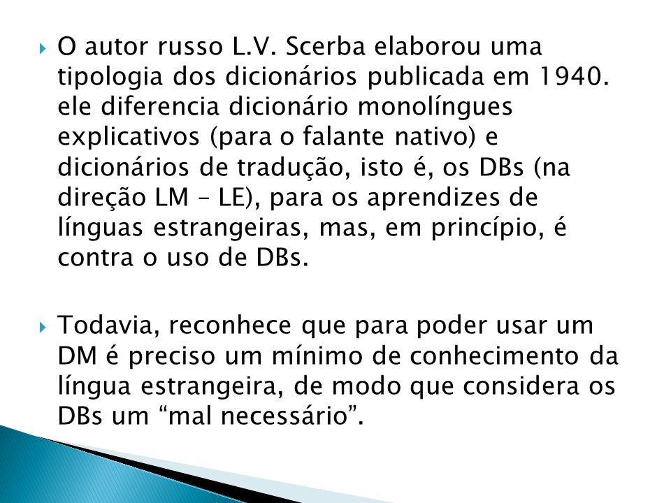  O autor russo L.V. Scerba elaborou uma tipologia dos dicionários publicada em 1940. ele diferencia dicionário monolíngues explicativos (para o falan