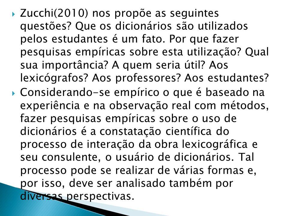  Zucchi(2010) nos propõe as seguintes questões? Que os dicionários são utilizados pelos estudantes é um fato. Por que fazer pesquisas empíricas sobre