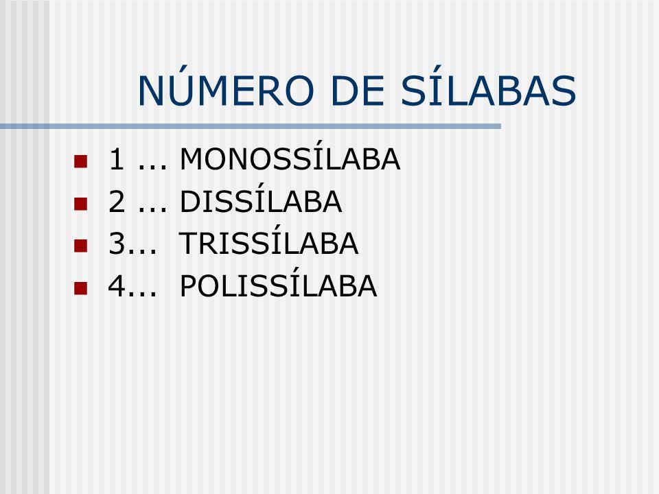 NÚMERO DE SÍLABAS 1... MONOSSÍLABA 2... DISSÍLABA 3... TRISSÍLABA 4... POLISSÍLABA