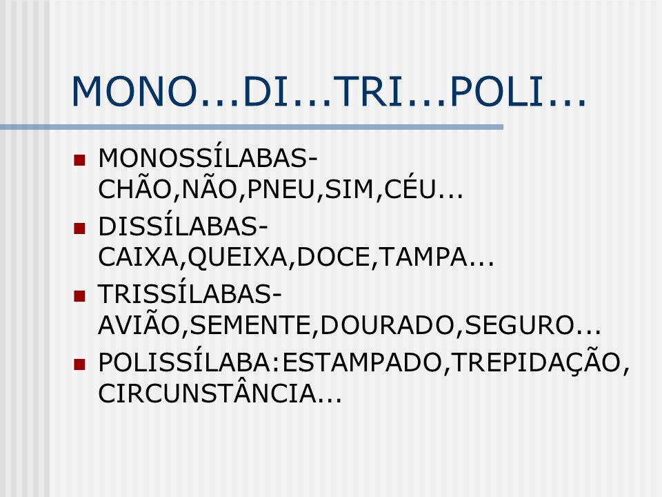 MONO...DI...TRI...POLI... MONOSSÍLABAS- CHÃO,NÃO,PNEU,SIM,CÉU... DISSÍLABAS- CAIXA,QUEIXA,DOCE,TAMPA... TRISSÍLABAS- AVIÃO,SEMENTE,DOURADO,SEGURO... P