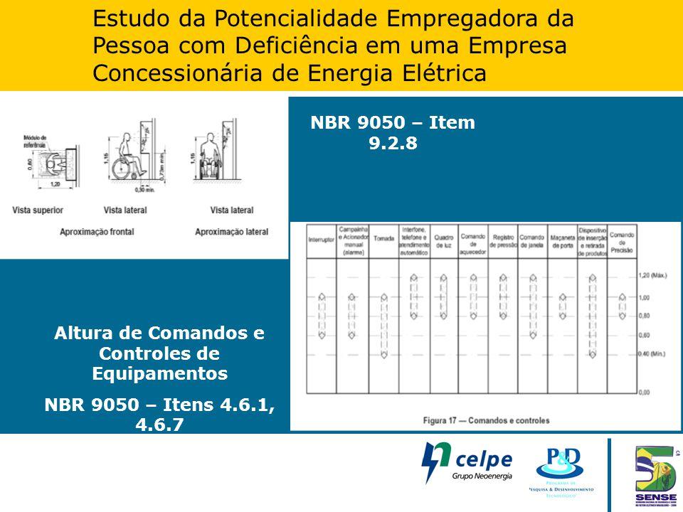 Estudo da Potencialidade Empregadora da Pessoa com Deficiência em uma Empresa Concessionária de Energia Elétrica Altura de Comandos e Controles de Equ
