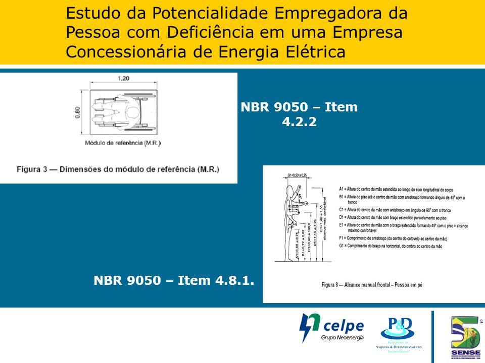 Estudo da Potencialidade Empregadora da Pessoa com Deficiência em uma Empresa Concessionária de Energia Elétrica NBR 9050 – Item 4.2.2 NBR 9050 – Item