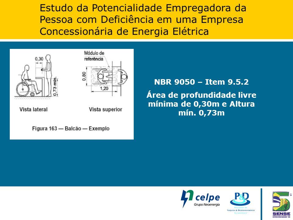 Estudo da Potencialidade Empregadora da Pessoa com Deficiência em uma Empresa Concessionária de Energia Elétrica NBR 9050 – Item 9.5.2 Área de profund
