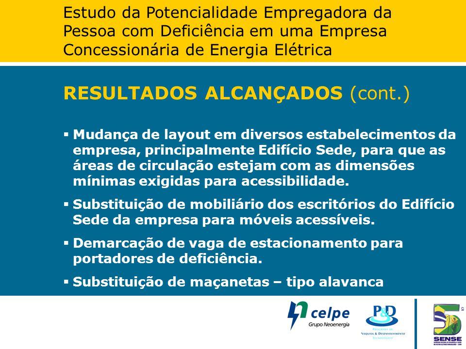 Estudo da Potencialidade Empregadora da Pessoa com Deficiência em uma Empresa Concessionária de Energia Elétrica RESULTADOS ALCANÇADOS (cont.)  Mudan