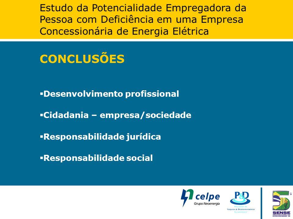Estudo da Potencialidade Empregadora da Pessoa com Deficiência em uma Empresa Concessionária de Energia Elétrica CONCLUSÕES  Desenvolvimento profissi