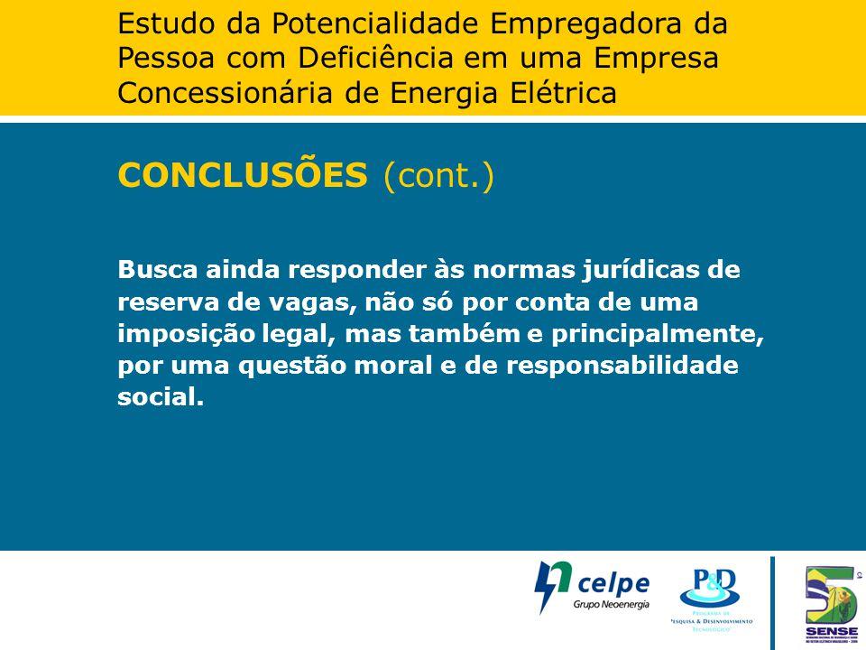 Estudo da Potencialidade Empregadora da Pessoa com Deficiência em uma Empresa Concessionária de Energia Elétrica CONCLUSÕES (cont.) Busca ainda respon