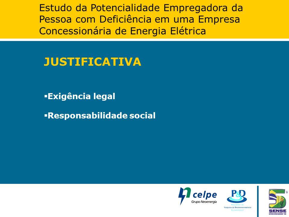 Estudo da Potencialidade Empregadora da Pessoa com Deficiência em uma Empresa Concessionária de Energia Elétrica JUSTIFICATIVA  Exigência legal  Res
