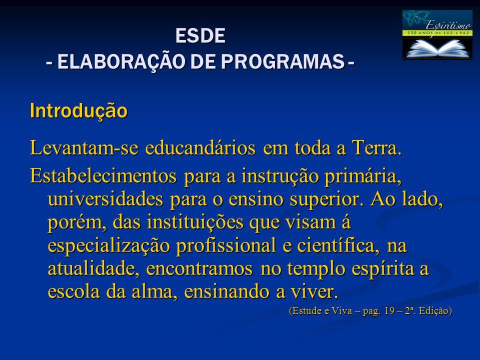 ESDE - ELABORAÇÃO DE PROGRAMAS - Introdução Levantam-se educandários em toda a Terra. Estabelecimentos para a instrução primária, universidades para o