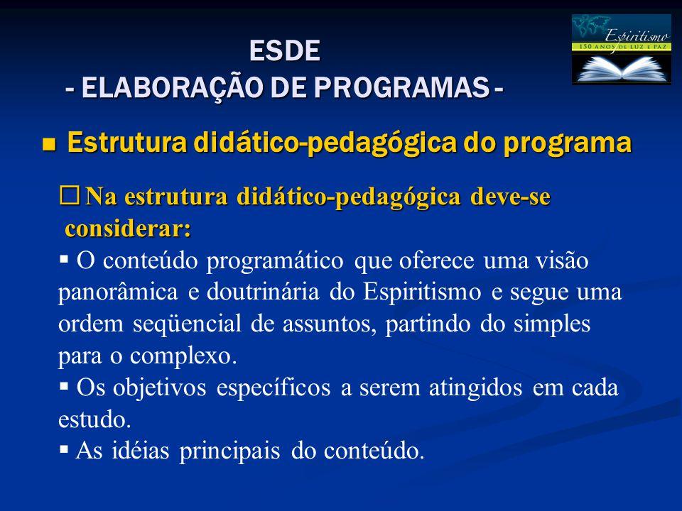 ESDE - ELABORAÇÃO DE PROGRAMAS - Estrutura didático-pedagógica do programa Estrutura didático-pedagógica do programa  Na estrutura didático-pedagógic