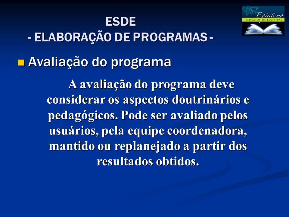 ESDE - ELABORAÇÃO DE PROGRAMAS - Avaliação do programa Avaliação do programa A avaliação do programa deve considerar os aspectos doutrinários e pedagógicos.