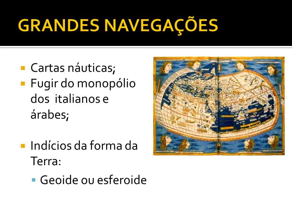  Cartas náuticas;  Fugir do monopólio dos italianos e árabes;  Indícios da forma da Terra:  Geoide ou esferoide