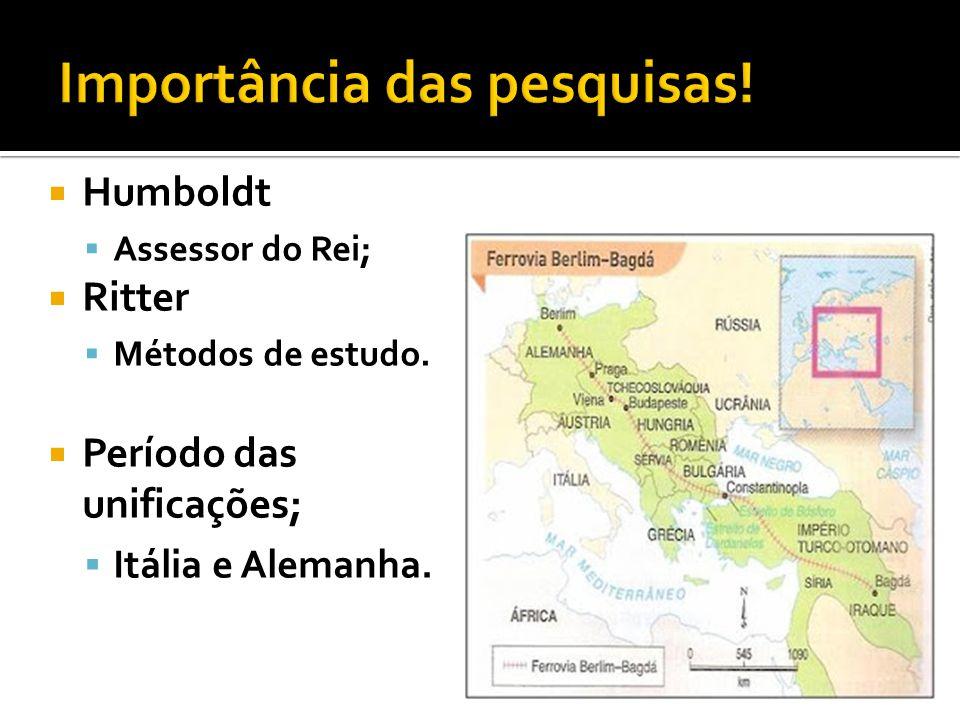  Humboldt  Assessor do Rei;  Ritter  Métodos de estudo.  Período das unificações;  Itália e Alemanha.