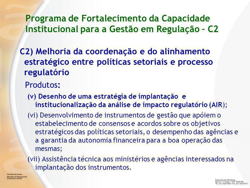Programa de Fortalecimento da Capacidade Institucional para a Gestão em Regulação – C2 C2 ) Melhoria da coordenação e do alinhamento estratégico entre políticas setoriais e processo regulatório Produtos: (v) Desenho de uma estratégia de implantação e institucionalização da análise de impacto regulatório (AIR); (vi) Desenvolvimento de instrumentos de gestão que apóiem o estabelecimento de consensos e acordos sobre os objetivos estratégicos das políticas setoriais, o desempenho das agências e a garantia da autonomia financeira para a boa operação das mesmas; (vii) Assistência técnica aos ministérios e agências interessados na implantação dos instrumentos.