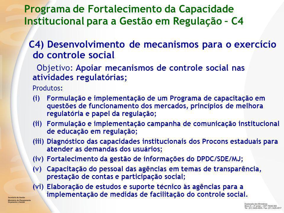 Programa de Fortalecimento da Capacidade Institucional para a Gestão em Regulação – C4 C4) Desenvolvimento de mecanismos para o exercício do controle social Objetivo: Apoiar mecanismos de controle social nas atividades regulatórias; Produtos: (i)Formulação e implementação de um Programa de capacitação em questões de funcionamento dos mercados, princípios de melhora regulatória e papel da regulação; (ii)Formulação e implementação campanha de comunicação institucional de educação em regulação; (iii)Diagnóstico das capacidades institucionais dos Procons estaduais para atender as demandas dos usuários; (iv)Fortalecimento da gestão de informações do DPDC/SDE/MJ; (v)Capacitação do pessoal das agências em temas de transparência, prestação de contas e participação social; (vi)Elaboração de estudos e suporte técnico às agências para a implementação de medidas de facilitação do controle social.