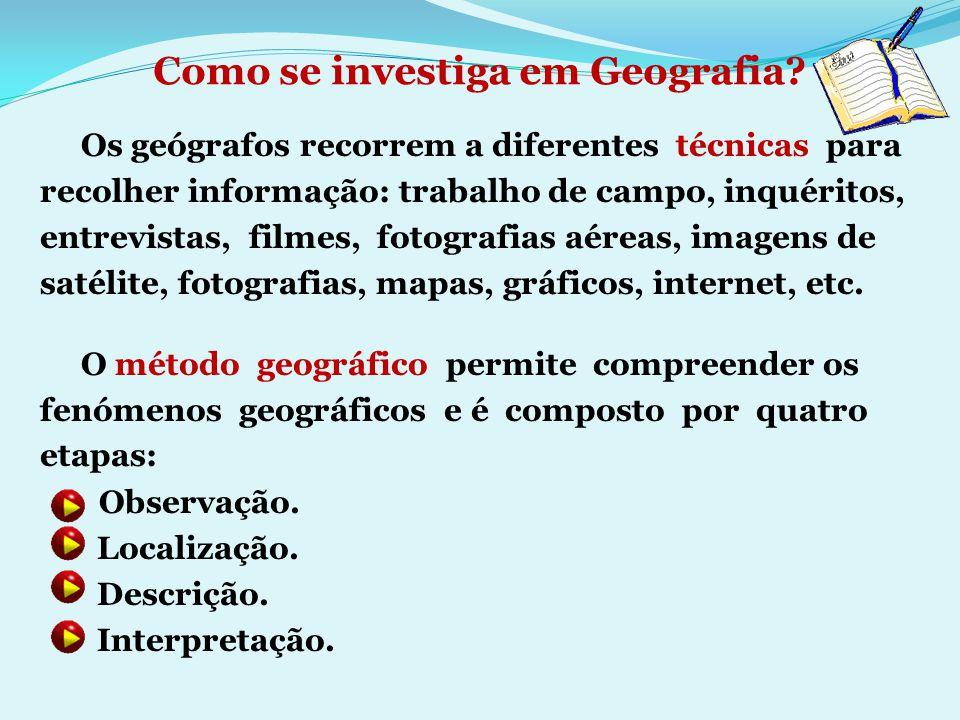 Como se investiga em Geografia? Os geógrafos recorrem a diferentes técnicas para recolher informação: trabalho de campo, inquéritos, entrevistas, film