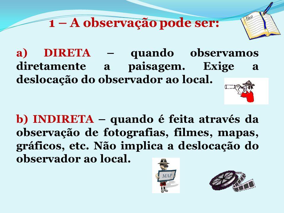 a) DIRETA – quando observamos diretamente a paisagem. Exige a deslocação do observador ao local. b) INDIRETA – quando é feita através da observação de