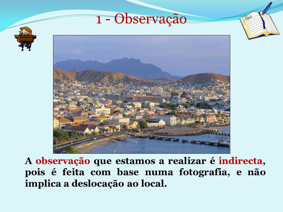 1 - Observação A observação que estamos a realizar é indirecta, pois é feita com base numa fotografia, e não implica a deslocação ao local.