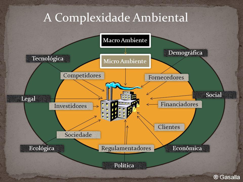 A Complexidade Ambiental Micro Ambiente Financiadores Clientes Investidores Macro Ambiente Demográfica Social Econômica Política Ecológica Legal Tecnológica Fornecedores Regulamentadores Sociedade Competidores ® Gasalla