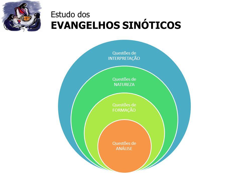 Estudo dos EVANGELHOS SINÓTICOS Questões de INTERPRETAÇÃO Questões de NATUREZA Questões de FORMAÇÃO Questões de ANÁLISE
