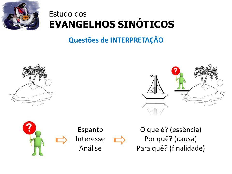 Estudo dos EVANGELHOS SINÓTICOS Questões de INTERPRETAÇÃO Espanto Interesse Análise O que é? (essência) Por quê? (causa) Para quê? (finalidade)