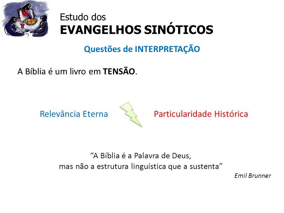 """Estudo dos EVANGELHOS SINÓTICOS Questões de INTERPRETAÇÃO A Bíblia é um livro em TENSÃO. Relevância EternaParticularidade Histórica """"A Bíblia é a Pala"""