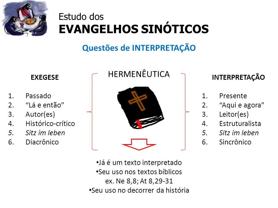 Estudo dos EVANGELHOS SINÓTICOS Questões de INTERPRETAÇÃO HERMENÊUTICA Já é um texto interpretado Seu uso nos textos bíblicos ex. Ne 8,8; At 8,29-31 S