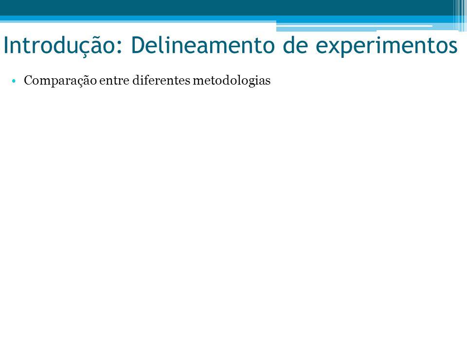 Introdução: Delineamento de experimentos Comparação entre diferentes metodologias